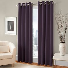 The attractive Majestic Blackout Lined Grommet Window Curtain Panel includes a blackout lining to help block unwanted exterior light. The panel features a faux silk fabric and hangs with stylish grommets. Panels fit up to a 1.5 diameter rod.