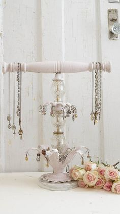 Years ago I came across this piece, I believe it's called a justice scale. All of the hanging crystals and crystal scales have been taken off. I knew that someday I would repurpose this piece, and recently the idea to repurpose this into a jewelry holder came to mind.