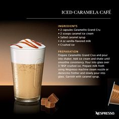 Iced Caramela Cafe | Caramel with salted butter, an Espresso Grand Cru, a few words say it all. The air of Brittany overcomes the senses, Nespresso satisfies them.