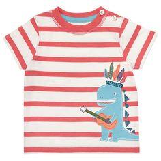 BuyJohn Lewis Baby Stripe Guitar Dinosaur T-Shirt, Red/White, Newborn Online at johnlewis.com