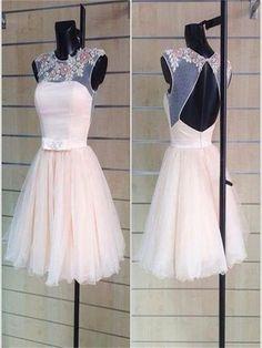 Short Prom Dress,tulle Prom Dress,appliques Prom Dress,open back prom dress,cap sleeve prom dress,cute prom dress,evening party prom dress,homecoming dressPD0080