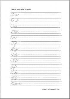 Handwriting Practice: Cursive Letters (ZB-Style Font) - Trace the dotted letters, then write the letters on the line. Cursive Handwriting Practice, Cursive Writing Worksheets, Improve Your Handwriting, Cursive Alphabet, Handwriting Analysis, Teaching Cursive Writing, School Worksheets, Kindergarten Worksheets, Improve Writing Skills