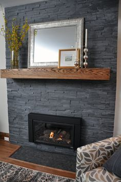 Image result for gray painted brick fireplace
