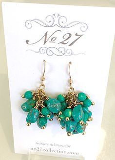 Tiny chunks of blue green turquoise - surprisingly light! Green Turquoise, Blue Green, Cluster Earrings, Drop Earrings, Upcycled Vintage, Stones And Crystals, Handcrafted Jewelry, Bridal Jewelry, Vintage Jewelry