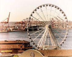 Seattle Great Wheel & Waterfont vintage like Image, Digitally Painted, sizes to Ferris Wheels, Like Image, Amusement Parks, Tilt, Seattle, Carnival, Fair Grounds, Vintage, Carnavals