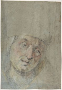 Jacopo Bassano (Jacopo da Ponte) [abscribed to], c.1510-1592, Italian, Head of a Pope(?), 1550-1600.  Black and colored chalks on blue paper; 39.2 x 27. cm.  The Metropolitan Museum of Art, New York.  Mannerism.