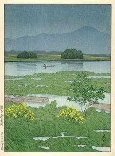 hanga gallery . . . torii gallery: Ezu Lake, Kumamoto by Kawase Hasui