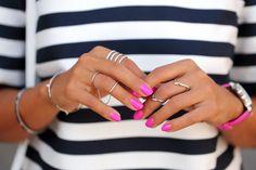 VIVALUXURY - FASHION BLOG BY ANNABELLE FLEUR: CITY STRIPES- Wearing Melanie Auld Pave Double Knuckle Ring and Melanie Auld Pave 4 tier ring