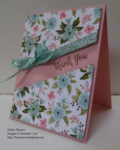 Thank You Card made with Stampin' Up!'s Birthday Bouquet Paper. For details, go to my Thursday, April 28, 2016 blog at http://kmaurer.stampinup.net