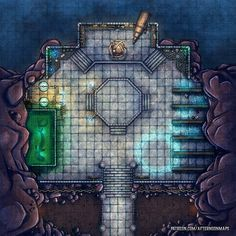 Afternoon Maps is creating RPG and DnD battlemaps Dungeon Tiles, Dungeon Maps, Pathfinder Maps, Fantasy World Map, Rpg Map, Building Map, Adventure Map, D&d Dungeons And Dragons, Grid