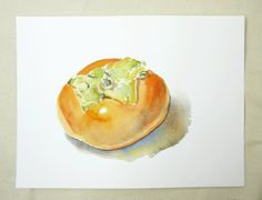 Persimmon II -- ORIGINAL Watercolor Painting Still Life Japanese Fall Fruit Orange Red Autumn by studiomelange on Etsy