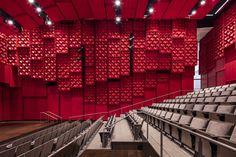 LMN Architects has completed the design of The University of Iowa's Voxman Music Building located in Iowa City, Iowa. Vision The Voxman Music Building celebrates … Auditorium Architecture, Theatre Architecture, Auditorium Design, Hogwarts University, Theatre Design, Cinema Theatre, Plaza Design, Hall Design, Lecture Theatre