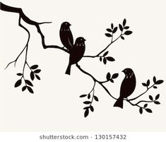 Vector silhouette of spring birds sitting on twig of tree. Decorative branch of tree with birds. Stencil Patterns, Stencil Designs, Shabby Chic Stencils, Bird Stencil, Damask Stencil, Style Rustique, Spring Birds, Branch Decor, Bird On Branch