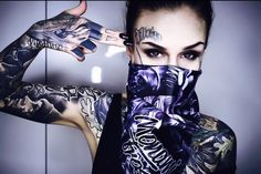 Image about girl in Tattoos n' Piercings 🔫 by Cookie Monster Sexy Tattoos, Body Art Tattoos, Girl Tattoos, Tatoos, Monami Frost, Fille Gangsta, Thug Girl, Tattoo Zone, Catrina Tattoo