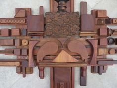 Mabel Hutchinson Abstract Wood Assemblage | From a unique collection of antique and modern wall-mounted sculptures at http://www.1stdibs.com/furniture/wall-decorations/wall-mounted-sculptures/