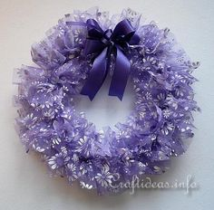organza ribbon wreath | Fabric and Textile Crafts - Fluffy Spring Wreath