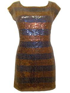 6faef011014 NEW FCUK BROWN/NAVY BLUE STRIPE SEQUIN TUNIC DRESS Size S M L XL #fashion #