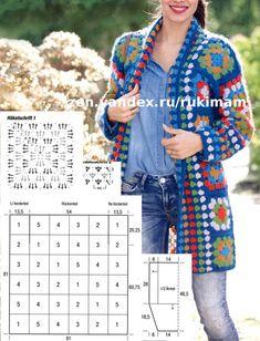 Crochet Cardigan Pattern, Crochet Tunic, Crochet Jacket, Knit Or Crochet, Crochet Clothes, Chunky Knitting Patterns, Granny Square Crochet Pattern, Granny Square Häkelanleitung, Crochet Circles