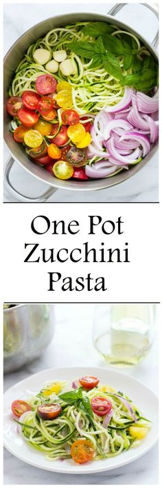 One Pot Zucchini Pasta- comes together in under 20 minutes + one serving is less than 200 calories! One Pot Zucchini Pasta- comes together in under 20 minutes + one serving is less than 200 calories! Vegetable Recipes, Vegetarian Recipes, Easy Veggie Meals, Spiralized Veggie Recipes, Paleo Zucchini Recipes, Vegetarian Tapas, Zucchini Pasta Recipes, Paleo Pasta, Pasta Food