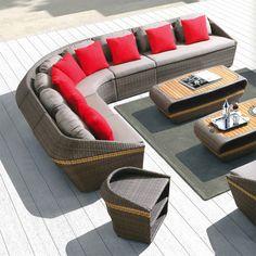 Amigo - zestaw wypoczynkowy - duży - Sklep internetowy twojasiesta.pl Wicker Furniture, Outdoor Furniture Sets, Outdoor Decor, Garden Sofa, Sofa Set, Rattan, Pergola, Patio, Modern