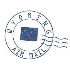 Oficina de correos de Wyoming, estampilla de correo de aire Vector De Stock