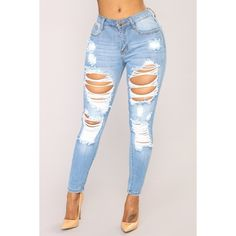 Give Good Love Skinny Jeans Light Blue Wash ($30) ❤ liked on Polyvore featuring jeans, destroyed jeans, stretchy skinny jeans, stretch jeans, denim skinny jeans and distressed skinny jeans
