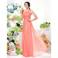 Sheath/Column One Shoulder Floor-length Chiffon Bridesmaid Dress (1466937) - EUR € 77.36