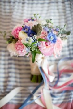 Pink Blue and Cream Bouquet With Ribbon Streamers | photography by http://heatherrothphotography.com/