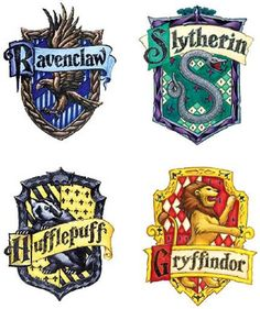 The iconic houses of Hogwarts- Gryffindor, Ravenclaw, Hufflepuff, and Slytherin. These are the symbols of the four houses at Hogwarts School of Witchcraft and Wizardry. Which house do you belong in? Baby Harry Potter, Harry Potter Casas, Harry Potter Thema, Cumpleaños Harry Potter, Harry Potter Baby Shower, Harry Potter Houses, Harry Potter House Colors, Harry Potter Uniform, Harry Potter Table