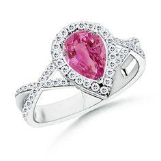 Diamond Halo Pear Pink Sapphire Engagement Ring