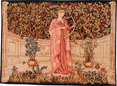 The Minstrel tapestry was designed by Morris & Co in 1899 for display above a fireplace. It shows a musician in a garden, a figure dressed in a long pink robe playing a lute in an alcove. Typical of Morris's work the background contains a great deal of detail with leaves and fruit trees.