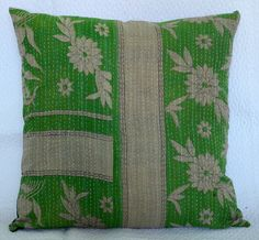 """Handmade Cushion Case Kantha Quilt Multicolor Vintage Pillow Cover Throw 24"""""""