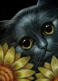 Art: BLACK CAT BEHIND THE SUNFLOWERS 1.jpg by Artist Cyra R. Cancel