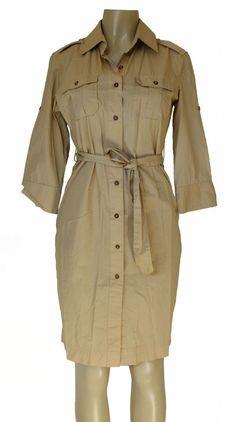 NWT BITTEN 8 Women's Juniors Dresses Button Sarah Jessica Parker Beige Shirt Tan #Bitten #ShirtDress
