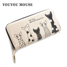 New Europe Women Cat Cartoon Wallet Long Creative Female Card Holder Casual Zip Ladies Clutch PU Leather Coin Purse ID Holder * Click image for more details.