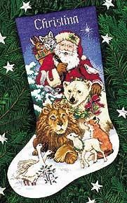santa and wild animals finished 1 Cross Stitch Christmas Stockings, Cross Stitch Stocking, Christmas Stocking Pattern, Xmas Cross Stitch, Cross Stitch Kitchen, Cross Stitch Books, Xmas Stockings, Cross Stitch Kits, Cross Stitching