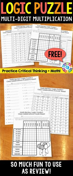 Engage your students with this FREE end of the year math activity and get them practicing both their multi-digit multiplication skills and their critical thinking skills! Multi-Digit Multiplication Logic Puzzle {FREE} includes 26 problems and a logic puzzle for students to solve.