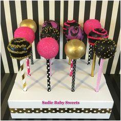 Hot pink, black and gold bachelorette cake pops!