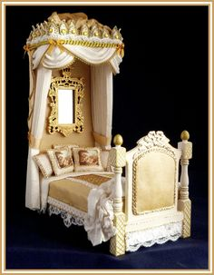 OOAK UPHOLSTERED FOUR POSTER/CANOPY BED by1/12TH SCALE by honeycuddlybunny   eBay   Cute little thinking .   Pinterest   Beds and eBay & OOAK UPHOLSTERED FOUR POSTER/CANOPY BED by1/12TH SCALE by ...