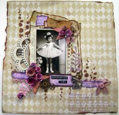 Vintage scrapbooking layout with a photo of my 4 year old mother.