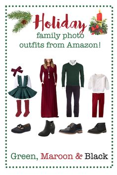 Holiday family photo outfits from Amazon, Christmas family picture outfits, christmas outfits, christmas clothes, christmas family pictures, christmas mini sessions, christmas mini session ideas, what to wear for family pictures, what to wear for christmas family pictures, what to wear for christmas mini sessions, red and green outfits, women's maroon dress, girls christmas dress, boy christmas outfit, amazon dress, men's green sweater, boy's sweater, girls amazon dress, girl knee high socks