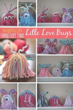 Looking for a fun Valentine's Day craft for the whole family? Look no further than these adorable Love Bugs (or as my son calls them, Yarn Monsters)! Easy Yarn Crafts, Yarn Crafts For Kids, Pom Pom Crafts, Family Crafts, Crafts To Make, Fun Crafts, Valentine Day Crafts, Holiday Crafts, Yarn Monsters
