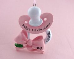 27c09674b98b0 Pacifier Personalized Ornament Baby Girl by OrnamentsInTheGreen