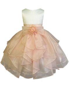 AMJ Dresses Inc Big Girls Ivory/peach Flower Pageant Dress Size 8