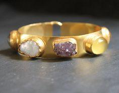 Mei Elizabeth: Egypt. 22k Gold Dipped Multi Gemstone Cuff Bracelet www.meielizabeth.com