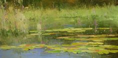 """""""Waterlilies Sunny Day"""" green landscape painting by artist Vahe Yeremyan available at Saatchi Art   Find more affordable landscape paintings at Saatchi Art: http://www.saatchiart.com/art-collection/Painting-Photography/Inspired-by-John-Constable-Original-Landscapes-for-2000-and-under/782019/106902/view #landscape"""