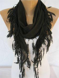 Black Scarf Cotton Scarf with Trim Edge ShawlSummer by MebaDesign, $13.90