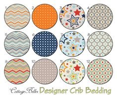 Crib Sheet or Toddler Bed Sheet - One For The Boys - Orange Navy Red Gray - Chevrons Stars by Cottage Belles