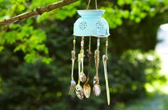 Repurpose kitchen extras as jingling garden décor.