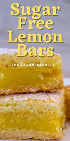 Sugar Free Deserts, No Sugar Desserts, Sugar Free Sweets, Lemon Dessert Recipes, Sugar Free Cookies, Sugar Free Recipes, Lemon Recipes, Low Carb Desserts, Delicious Desserts